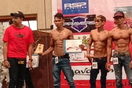 Addol No (35) saat mengikuti kejuaraan Body Contest se Jatim di Surabaya, Sabtu (19/01/20) kemarin