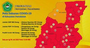 Peta sebaran covid-19 di Kabupaten Pamekasan, (Foto:Istimewa)